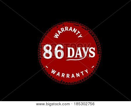 86 days red warranty icon vintage rubber stamp guarantee