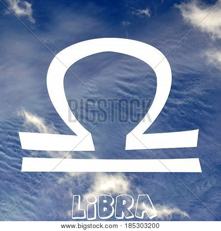 Libra zodiac sign on air element background
