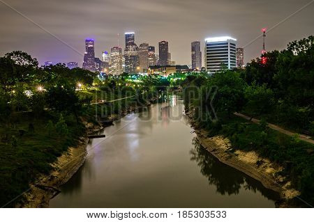 houston city of texas skyline and downtown