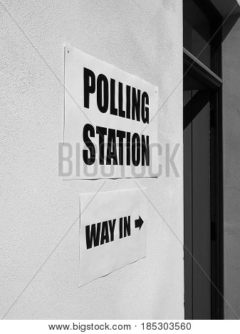 General Elections Polling Station, Black And White