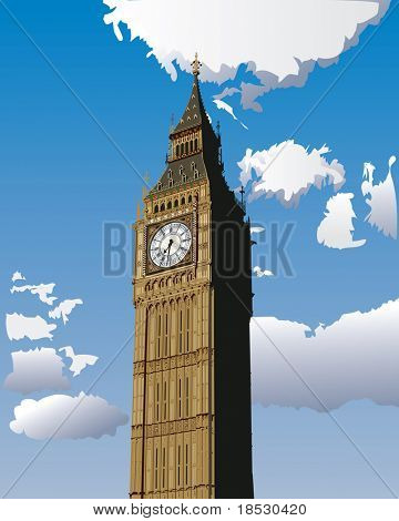 Illustration of Big Ben, one of the most popular landmark in London, Great Britain.