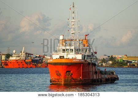 Labuan,Malaysia-May 7,2016:Offshore ships at Labuan Pearl of Borneo,Malaysia.Offshore ships are designed to perform a wide range of tasks associated with the offshore explorations & production of oil & gas.