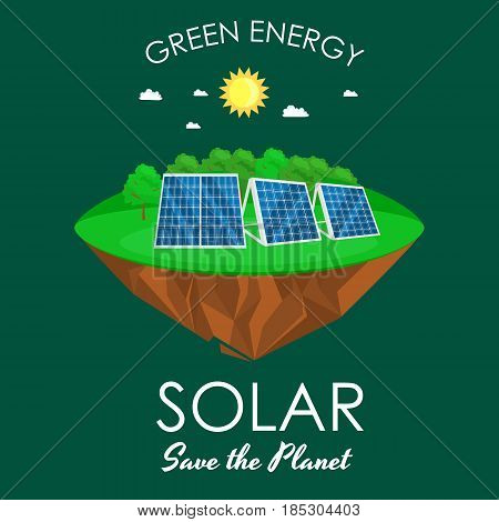 alternative energy power, solar electricity panel field on a green grass ecology concept, technology of renewable sun station vector illustratin.