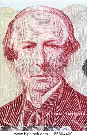 Juan Bautista Alberdi portrait from Argentinian money