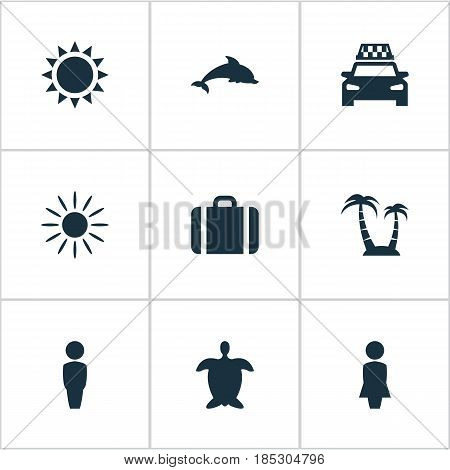 Vector Illustration Set Of Simple Beach Icons. Elements Mammal Fish, Taxi, Hot And Other Synonyms Suitcase, Hot And Luggage.