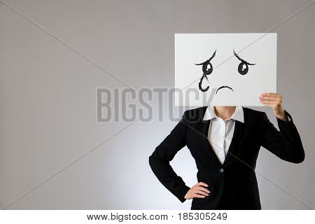 Holding Blank White Board With Sad And Crying
