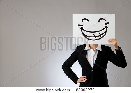 Lady Boss With Big Laughing Face Illustration