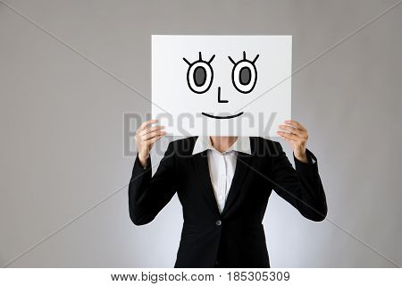 Holding Blank Billboard With Smile Face