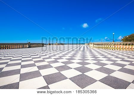 Mascagni Terrazza terrace belvedere seafront black and white checkerboard floor. Livorno Tuscany Italy Europe.