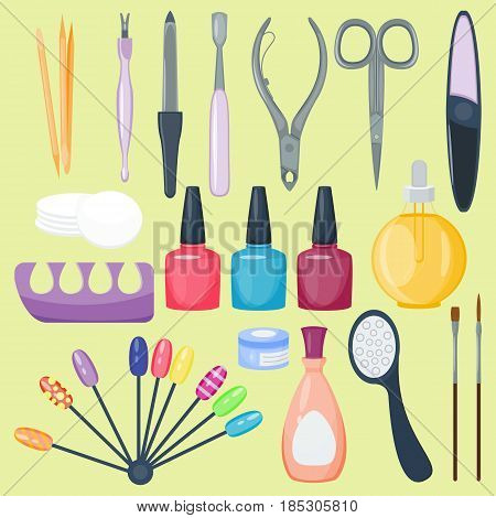 Manicure nail instruments set on background top view. Hygiene hand care pedicure salon tweezers fingernail. Fashion personal cosmetics equipment vector illustration