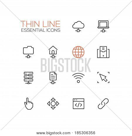 Network Data - modern vector single thin line icons set. Network, cloud, laptop, folder, house, globe, computer, drive, file, wifi, cursor, hand, arrow, window, joint