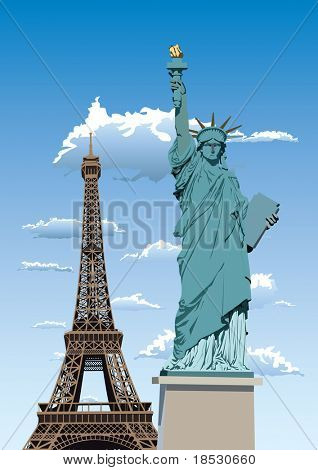 Vector illustration of Statue of Liberty in Paris and Eiffel tower against blue sky with white clouds