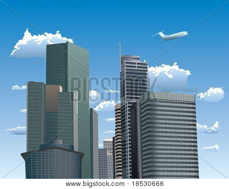 Vector illustration of skyscrapers. Blue sky with white clouds and flying airplane in background.
