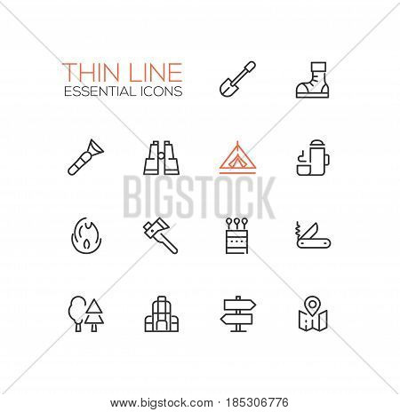 Camping and Hiking - modern vector line design icons set. Boots, flashlight, binocular, thermos, direction, fire, spade, axe, matches pocket knife trees backpack tent map poster