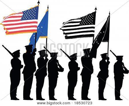 Color Guard der Vereinigten Staaten mit der nationalen Flagge