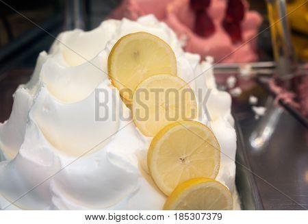 Close up of delicious lemon icecream in the ice-cream parlour