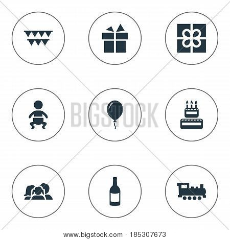 Vector Illustration Set Of Simple Birthday Icons. Elements Box, Infant, Confectionery And Other Synonyms Balloon, Prize And Confectionery.