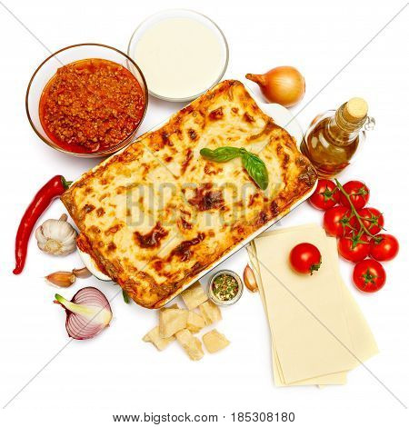 Classic Lasagna with bolognese and bechamel sauce on white background