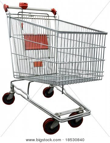 Empty shopping trolley isolated on white with clipping path