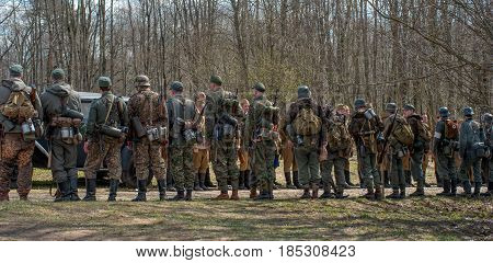 Gatchina, Russia - May 7, 2017: Historical reconstruction of the battles of World War II. Construction of soldiers before the beginning of the reconstruction of the battle.