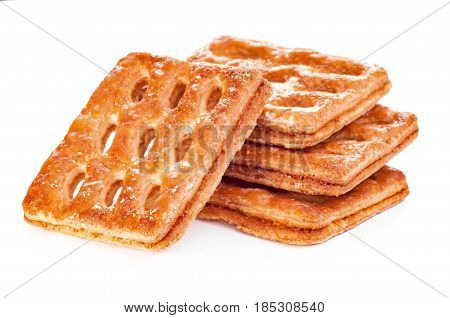 Cookies puff pastry. Puff pastry isolated on the white background.