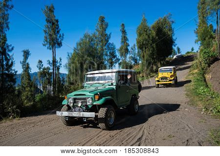East Java,indonesia-may 05 : Tourists Jeep For Tourist Rent At Mount Penanjakan,the Best Views From