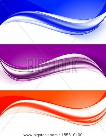 Abstract curved wavy lines set in orange purple blue colors and elegant dynamic light style. Vector illustration
