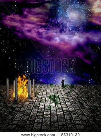 Surreal painting. Temple of fire on stone field. Man stands at the edge.    3D rendering  Some elements provided courtesy of NASA