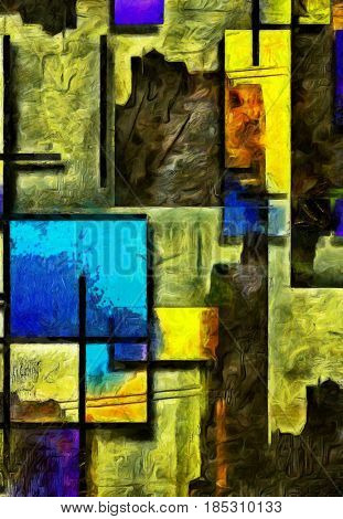 Abstract painting. Mondrian style.   3D rendering