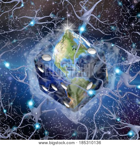 Planet Earth in dice shape.   3D rendering  Some elements provided courtesy of NASA