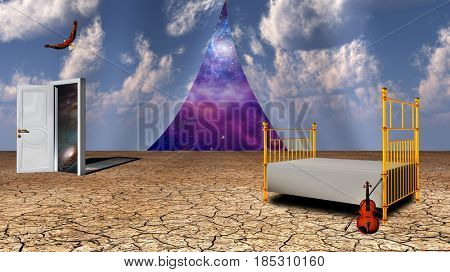 Surrealism. Bed and violin in arid land. Opened door to another world. Eagle in the sky. Universe behind curtains of sky.   3D rendering  Some elements provided courtesy of NASA