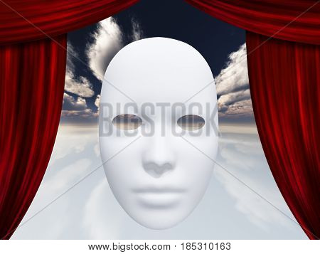 human face mask and curtains   3D rendering