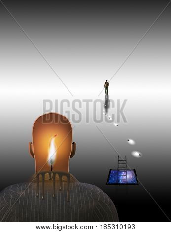 Surrealism. Melting candle in man's head. Figure of man in a distance.   3D rendering  Some elements provided courtesy of NASA