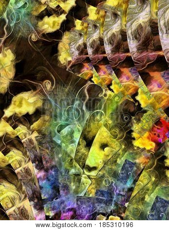 Colorful multi layered abstract.   3D rendering
