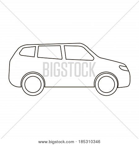 flat car icon outline balck lined car simple