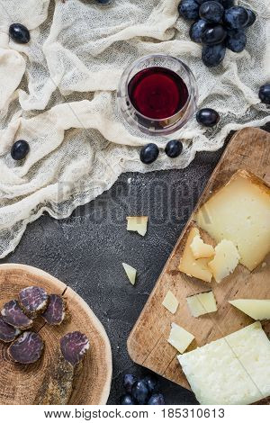 Platter With Hard Cheeses (italian Pecorino Toscano And Spanish Manchego) And Homemade Dried Meat, G
