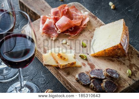 Platter With Spanish Ham Jamon Serrano Or Italian Prosciutto Crudo, Sliced Italian Hard Cheese Pecor