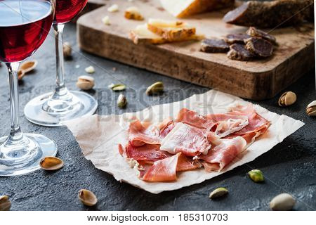 Spanish Ham Jamon Serrano Or Italian Prosciutto Crudo With Sliced Italian Hard Cheese Pecorino Tosca