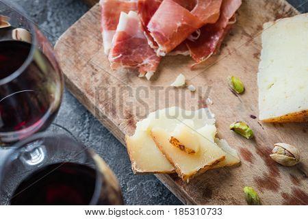 Platter With Spanish Ham Jamon Serrano Or Italian Prosciutto Crudo, Sliced Italian Hard Cheese Pecor