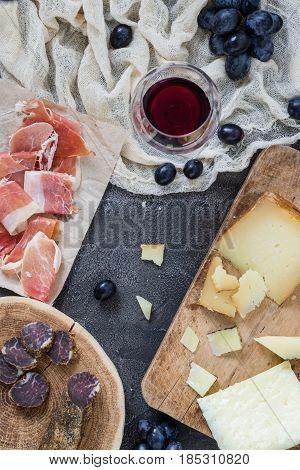 Platter With Hard Cheeses (italian Pecorino Toscano And Spanish Manchego), Homemade Dried Meat, Ham