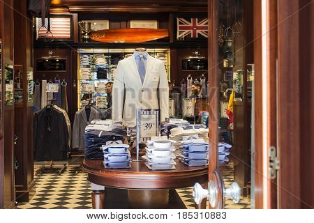MILAN ITALY - APRIL 22: Interior of a clothing store on April 22 2017