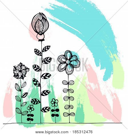 Abstract creative poster with hand-drawn blots and flowers. Modern background. Vector illustration.