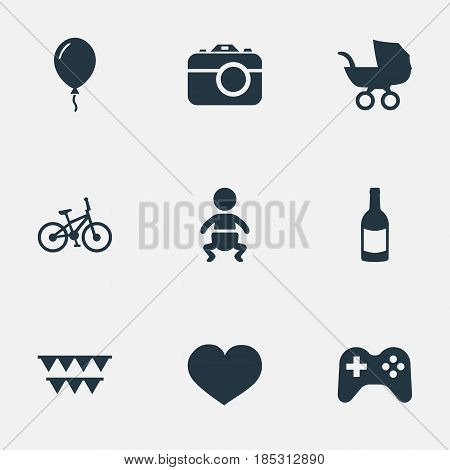 Vector Illustration Set Of Simple Celebration Icons. Elements Camera, Baby Carriage, Infant And Other Synonyms Carriage, Fizz And Party.