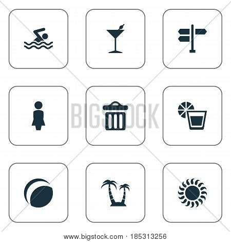 Vector Illustration Set Of Simple Seaside Icons. Elements Beach Games, Sunlight, Swimming Man And Other Synonyms Drink, Madame And Sunlight.