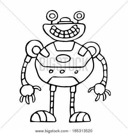 Cute spherical robot vector illustration. Science fiction. Original cartoon retro character.