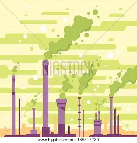 Air pollution, industrial smoke from chimneys, environmental pollution, smog and fog in sky, ecology concept