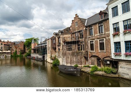 River With Historical Buildings In Gent