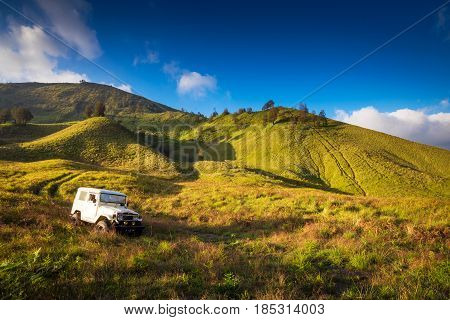 EAST JAVA,INDONESIA-MAY 05 : Tourists car for tourist rent at Mount Bromo,The active Mount Bromo is one of the most visited tourist attractions on May 05,2013 in East Java , Indonesia.