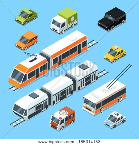 Isometric municipal transport set. Vector illustration isolate on white background. Car and isometric, transport for passenger, automobile patrol and ambulance car