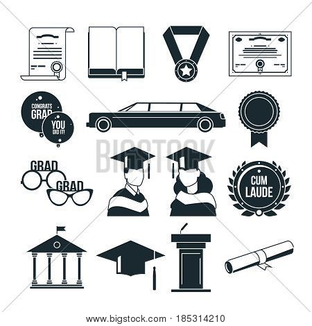 Students graduation party in monochrome style. Black vector icons set. University or college graduate, certificate graduation illustration